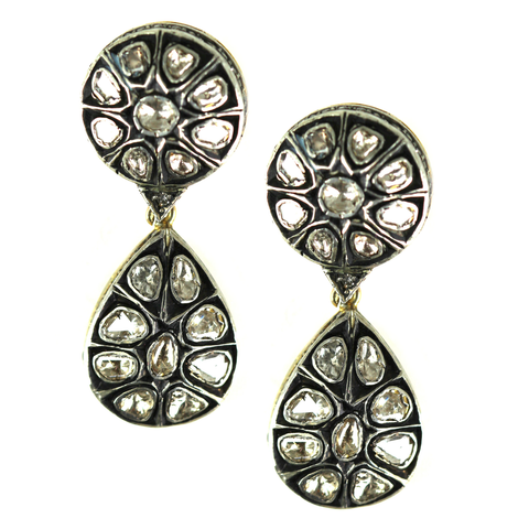 Teardrop Topax Diamond Slice Pierced Earrings  Oxidized and Yellow Gold