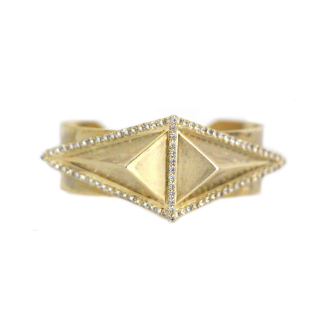 Surrounding Swarovski Crsytals and Raised Triangle Cuff  Matte Gold Plated