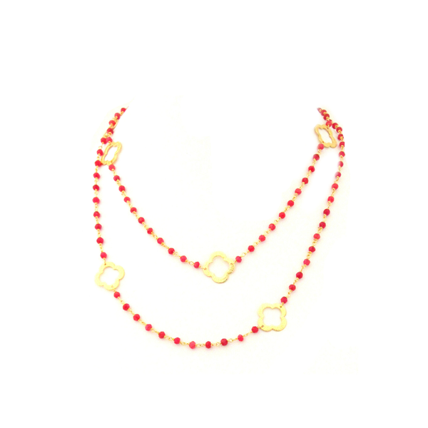 Ruby Stone Flower Station Necklace  Yellow Gold Plated