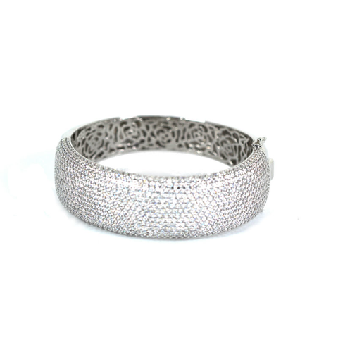 Cubic Zirconia Bangle Bracelet  White Gold Plated over Silver