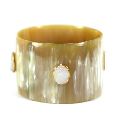 Light Horn Wide Bangle with White Druzy Stones