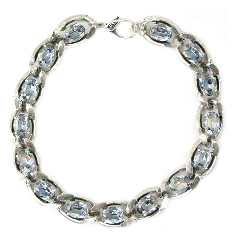 Blue Shade Chain Necklace Silver Plated
