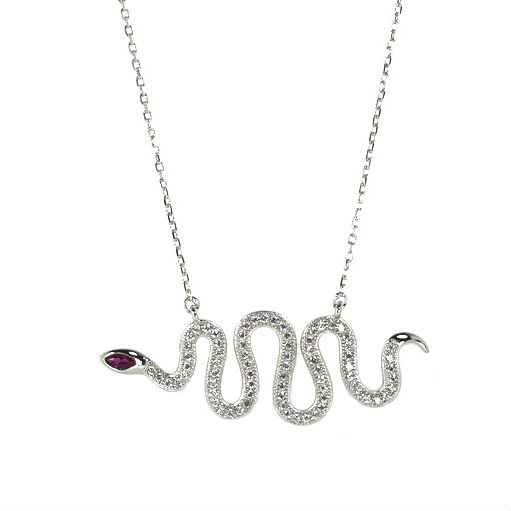 Cubic Zirconia Snake Pendant with Faux Ruby Eyes     Sterling Silver