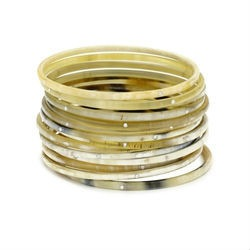 Set of 14 Horn Bangles with Swarovski Crystals Variate Natural Colors