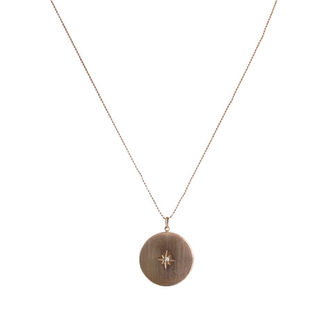 Rose Gold with Diamond Round Pendant Necklace