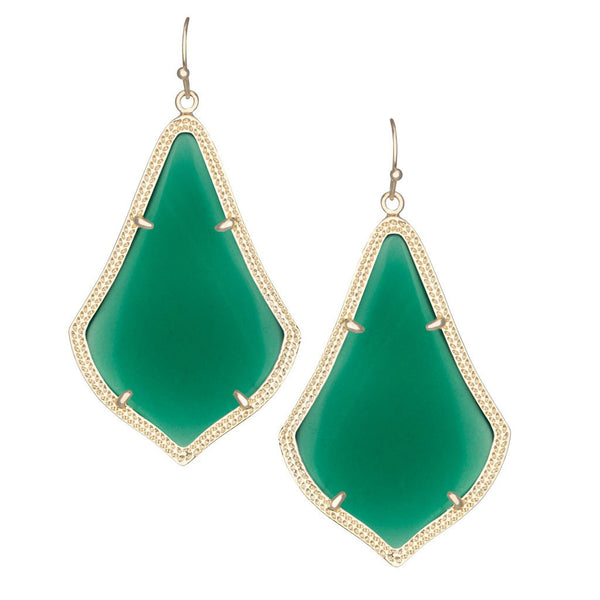 Green Translucent Glass Drop Earrings