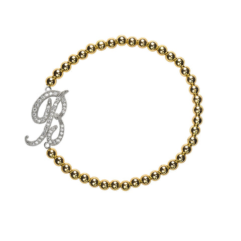 """B"" Personalized Stretch Bracelet"