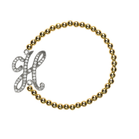"""H"" Personalized Stretch Bracelet"