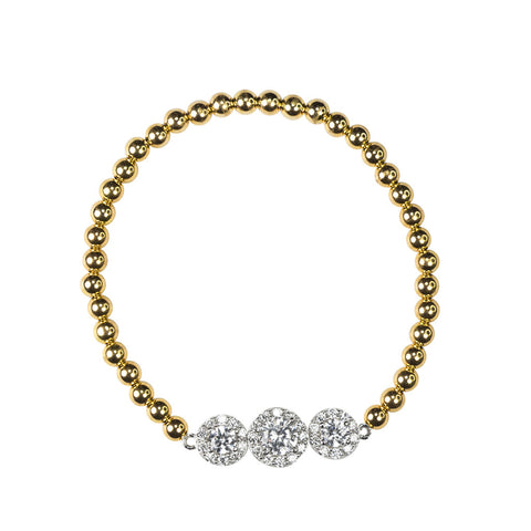 Three CZ Stretch Bracelet