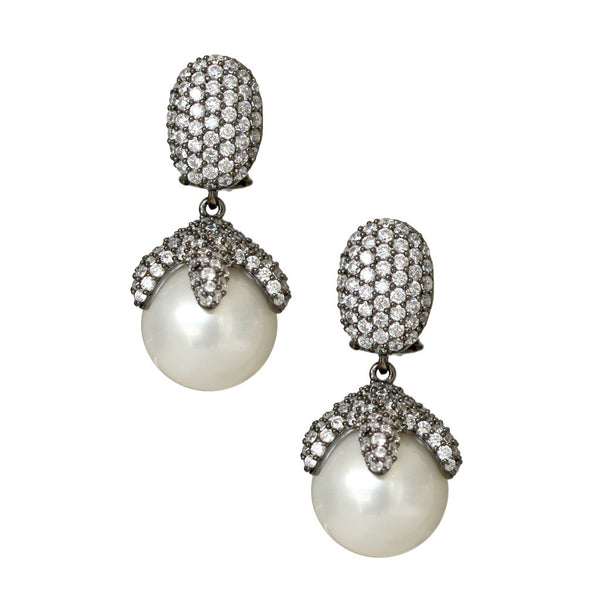 Pearl Pierced Earrings with CZ Crystals