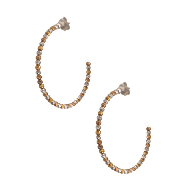 Small Silver and Gold Faceted Bead Hoops