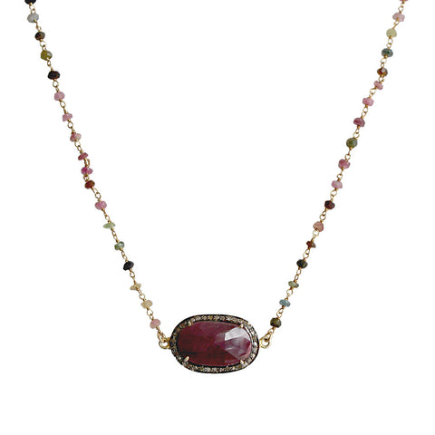 Safirs Necklace with Multi-Colored Stone