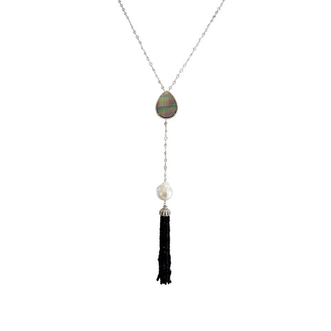 Grey Mother of Pearl Long Necklace