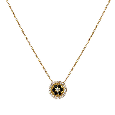Black Flower Disc Necklace
