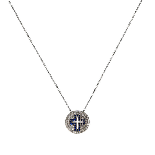 Pave Engraved Cross Necklace