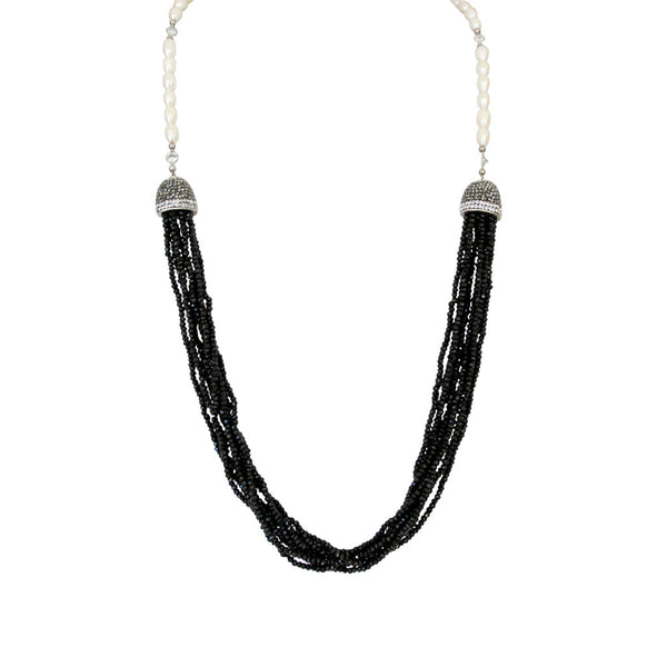 Black Spinel Rope with Mother of Pearls Necklace