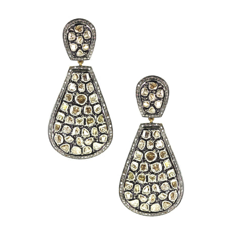 Large Teardrop Diamond Slice Pierced Earrings   Yellow Gold and Oxidized over Silver