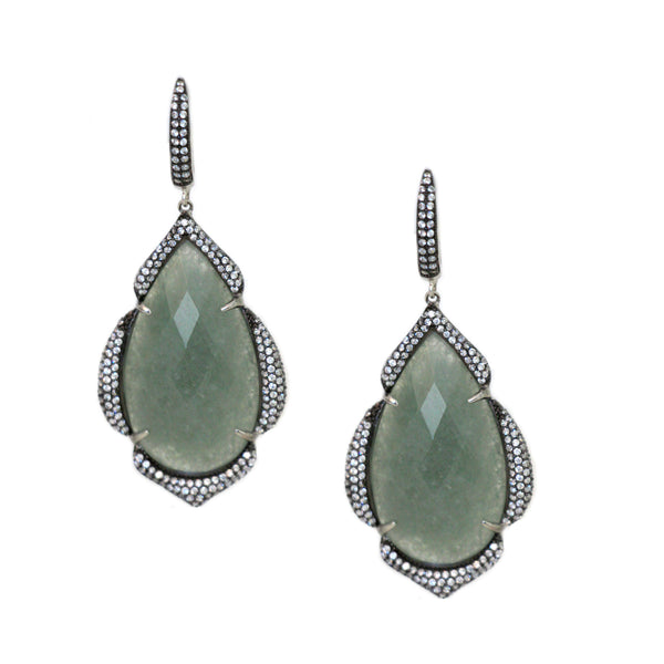 Faceted Green Aventurine and White Cubic Zirconia Earrings  Rhodium and Black Rhodium Plated