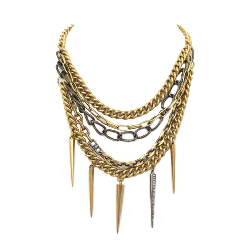 Layered Chain Spike Necklace
