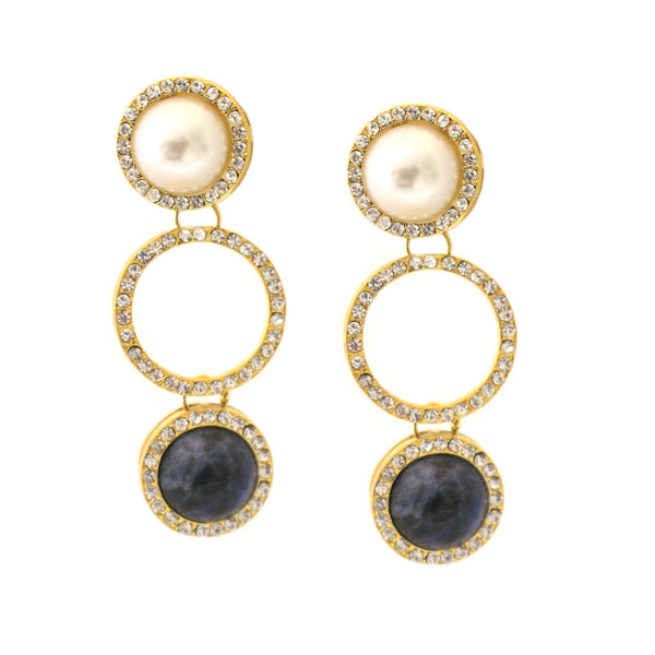 Triple Drop Pearl and Lapis Earring
