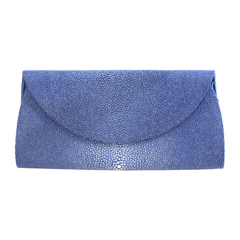 Blue Stingray Half Moon Clutch