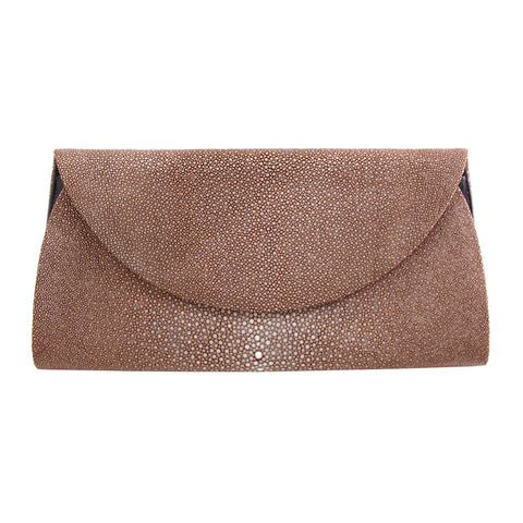 Tan Stingray Half Moon Clutch