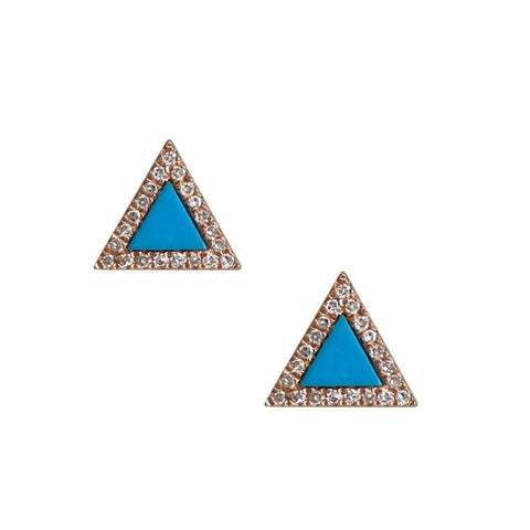 Mini Triangle Earrings with Turquoise Stone