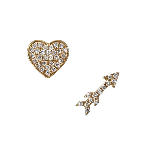 Mini Arrow & Heart Diamond Earrings