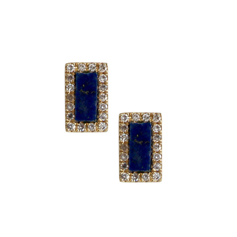 Mini Bar Earrings with Lapis Stone