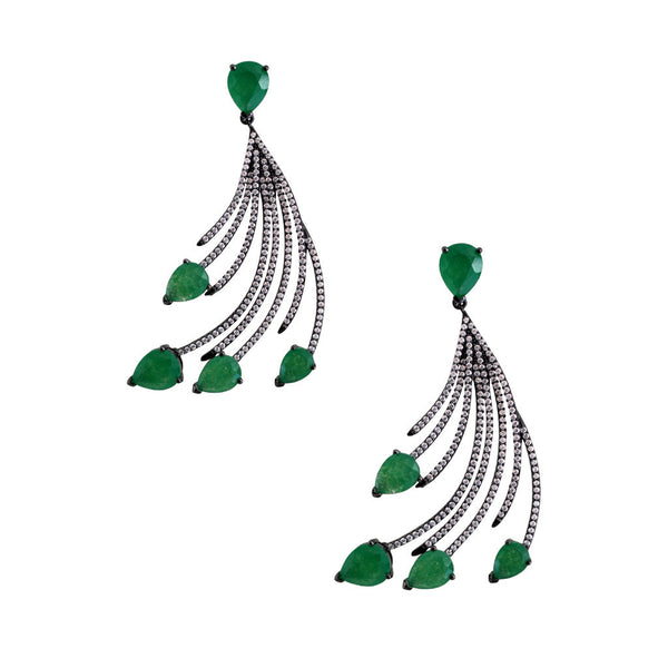 Feathered Green Stone Drop Earrings
