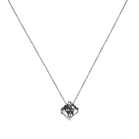 Delicate Square Solitaire Necklace