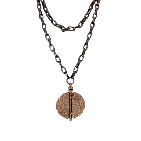 Sliced Layered Necklace with Hammered Pendant