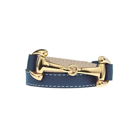 Navy Leather Wrap Bracelet