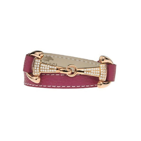 Fuchsia Leather Wrap Bracelet