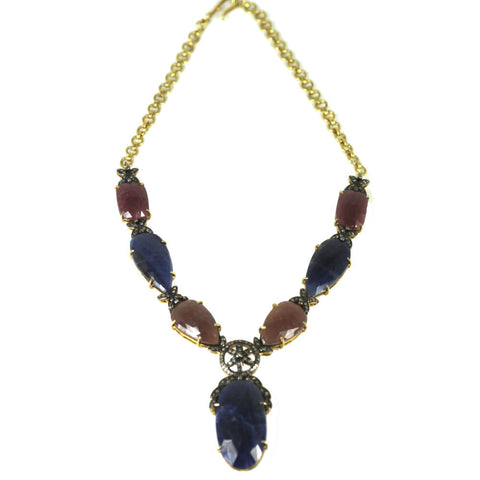 Red and Blue Sapphire Necklace