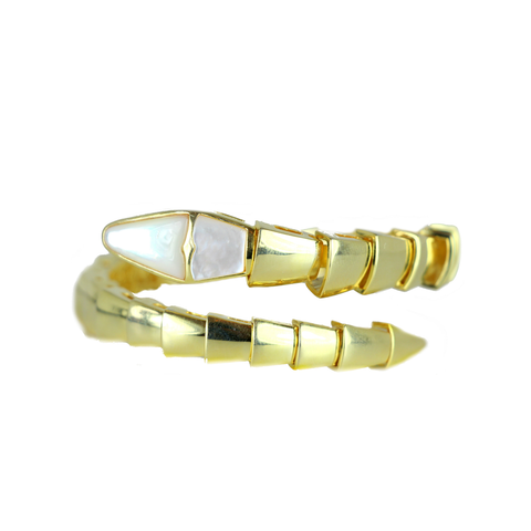 Snake Coil Bangle with Mother of Pearl Vermeil Plated
