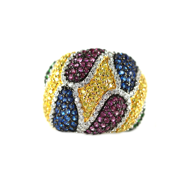 Muitli-Color Swarovski Crystal Dome Ring  Sterling Silver  Size 7