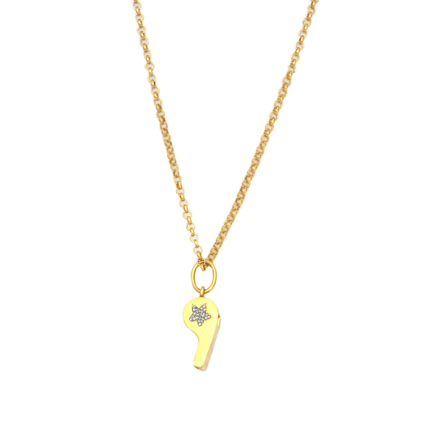Whistle Pendant with Swarvoski Crystal Heart  Yellow Gold Plated