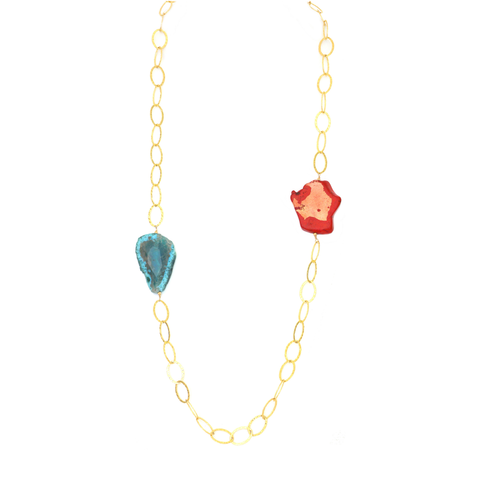 Agate Stones and Red Jasper Necklace Yellow Gold Plated Links