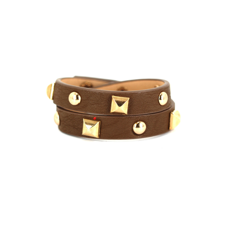 "Leather Brown and Gold Studded Wrap Bracelet  15"" Length"