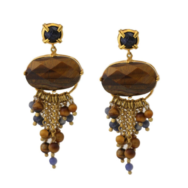 Tiger Eye Stone Chandelier Earrings