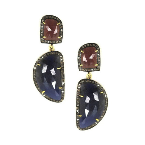 Red and Blue Sapphire Diamond Drop Earrings