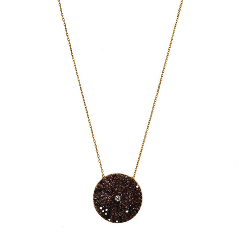 Brown Pave Disc Necklace