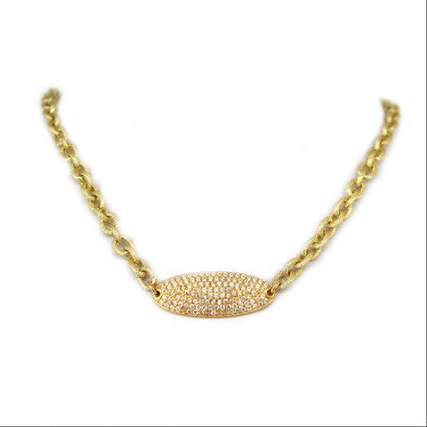 Pave Oval Chain Necklace
