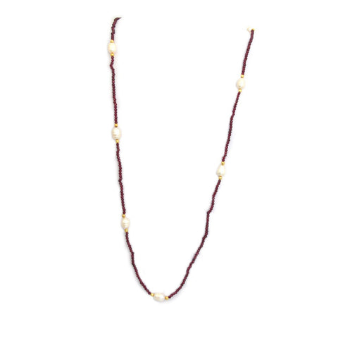 Ruby and Pearl Station Necklace