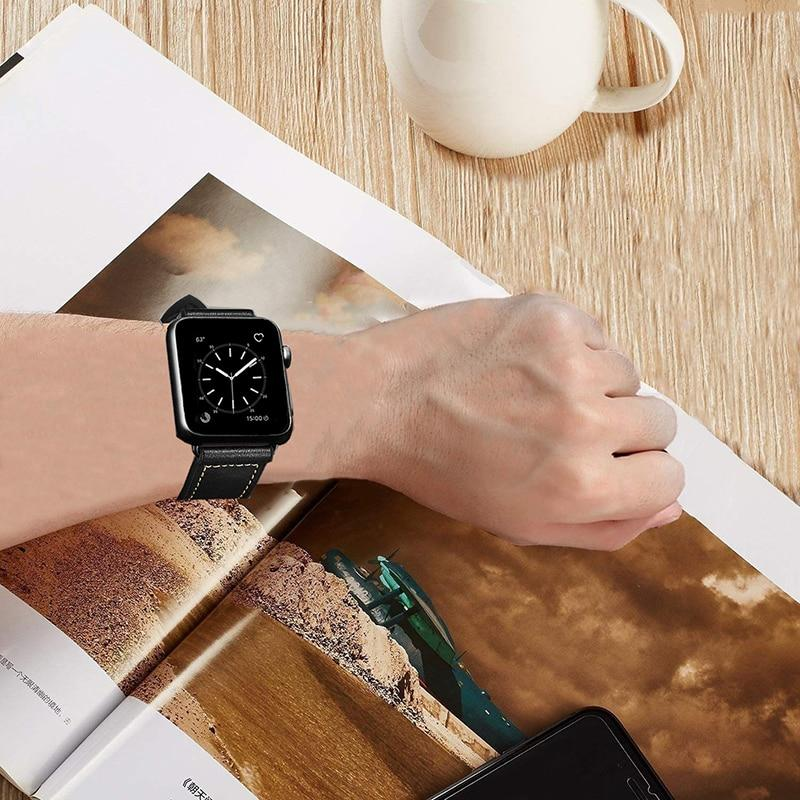 Vintage Leather Silicone Band for Apple Watch Series 5 4 3 2 1