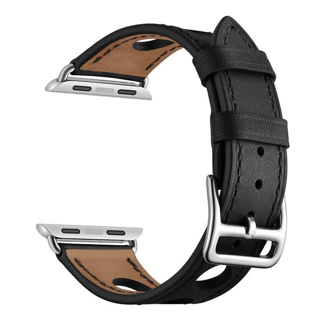 Breathable Perforated Leather Bracelet for Apple Watch