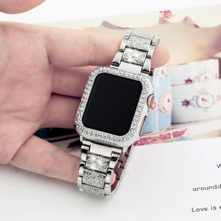 Diamond Luxe Stainless Steel Jewelry Band With Case for Apple Watch