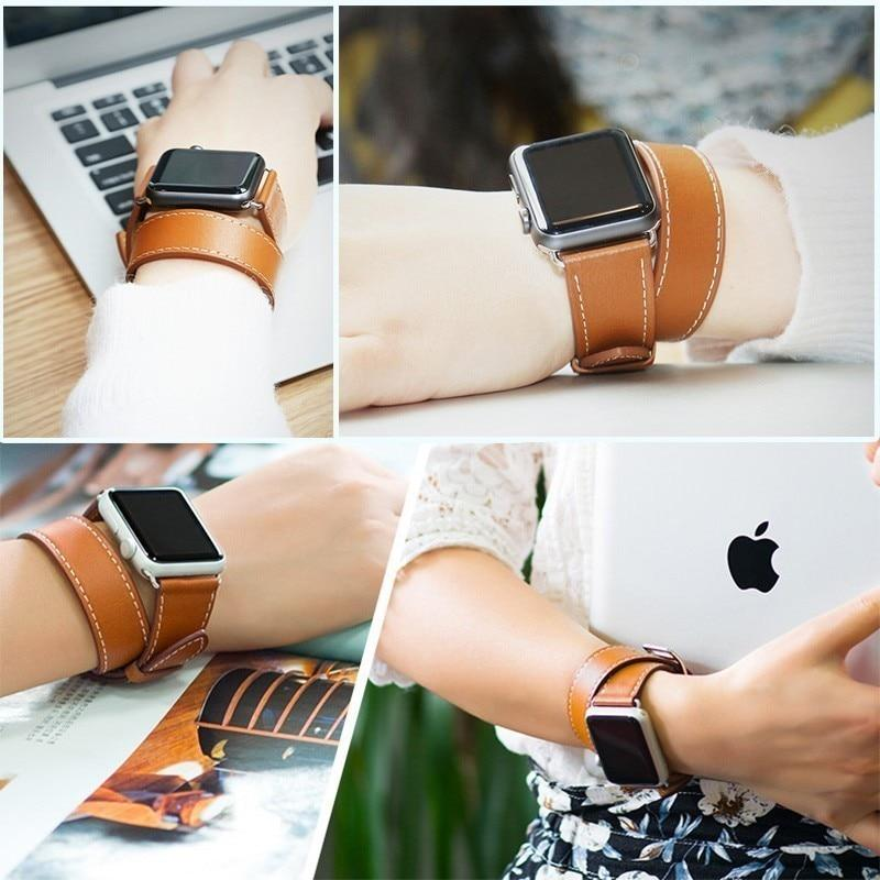 Genuine Double Tour Bracelet Leather Band for Apple Watch