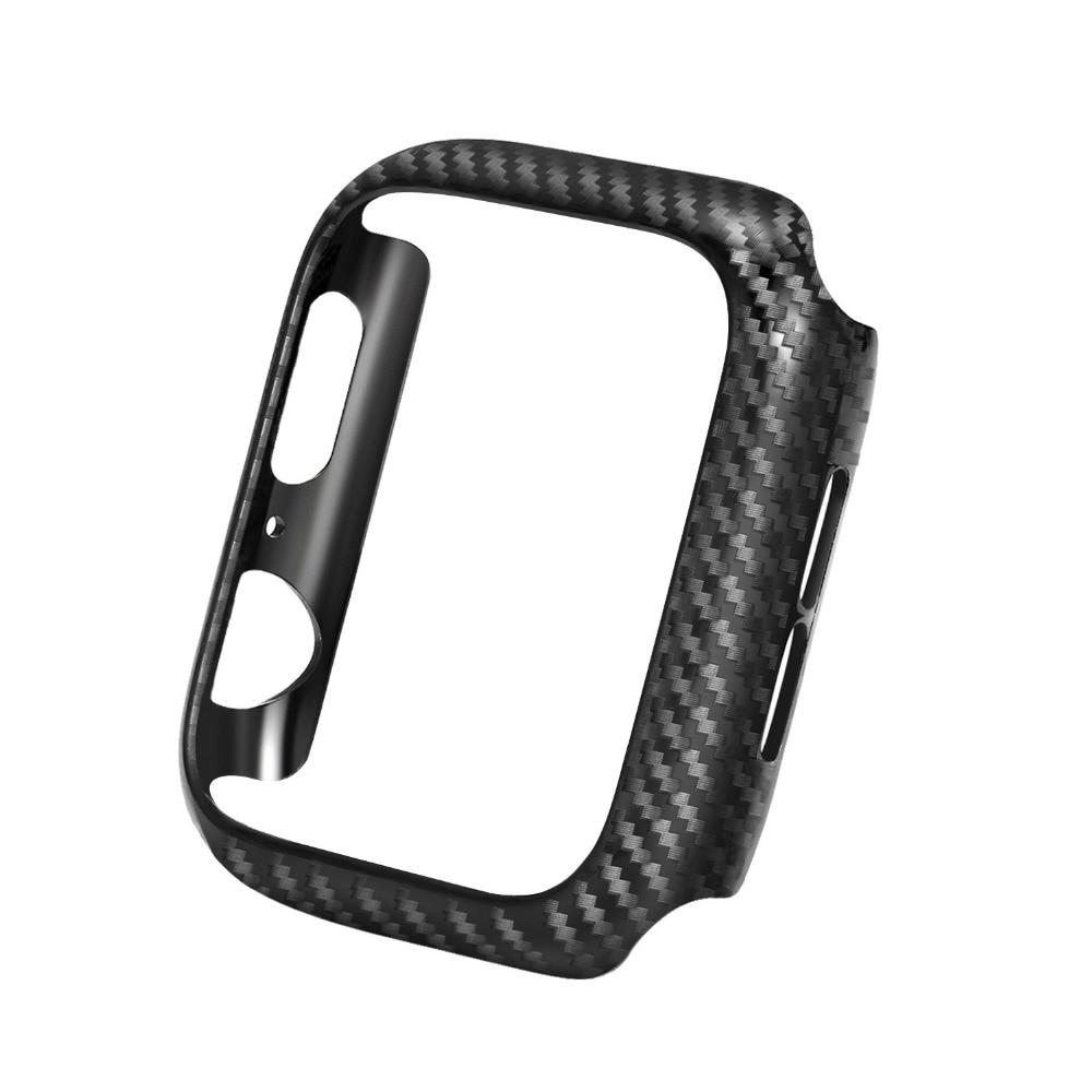 Genuine Leather Carbon Fiber Strap w/ Protective Case for Apple Watch
